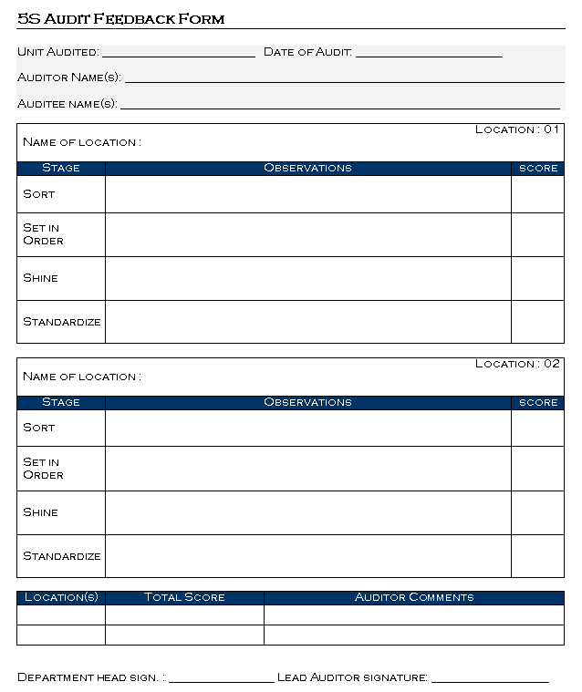 5S Audit Feedback Form format| Samples | Word Document Download