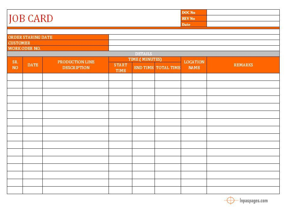 Free Job Card Template Pleasing Job Card Format  Word Document  Excel  Pdf  Sample