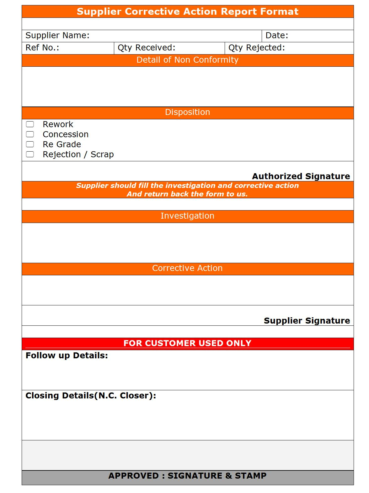 Supplier Corrective Action Report format | Word | PDF | Report