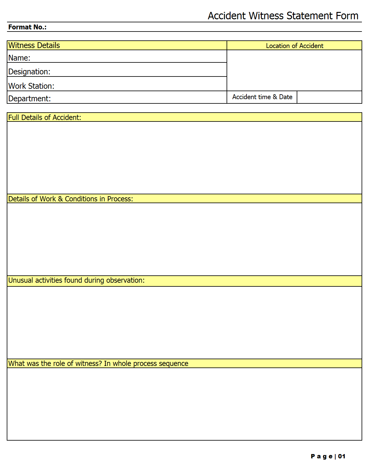 Accident witness statement form template format excel pdf sample accident witness statement form page 01 altavistaventures Choice Image