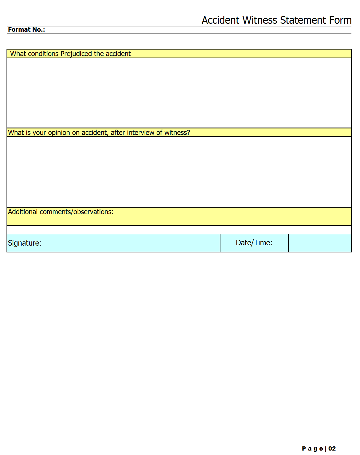 witness statement form accident witness statement form template format ...