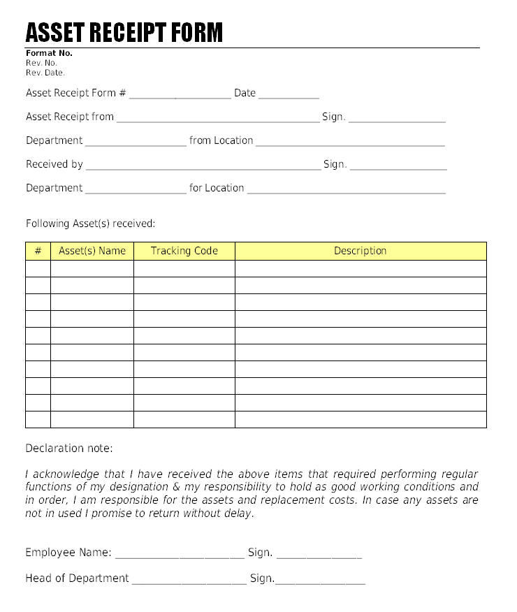 Asset Receipt Form Format