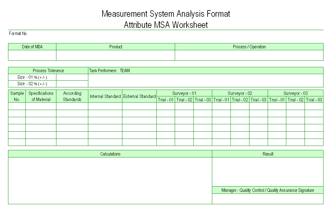 Attribute MSA Worksheet Measurement System Analysis Format
