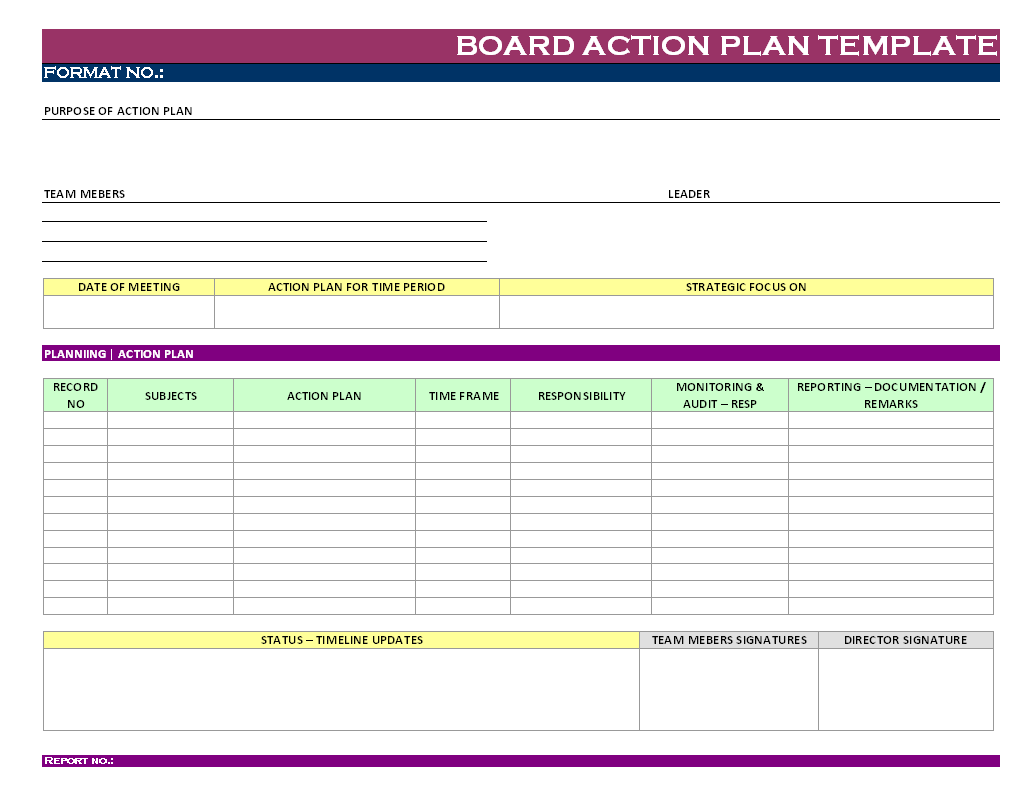 Board Action Plan Template | Report | Sample | Word document format ...