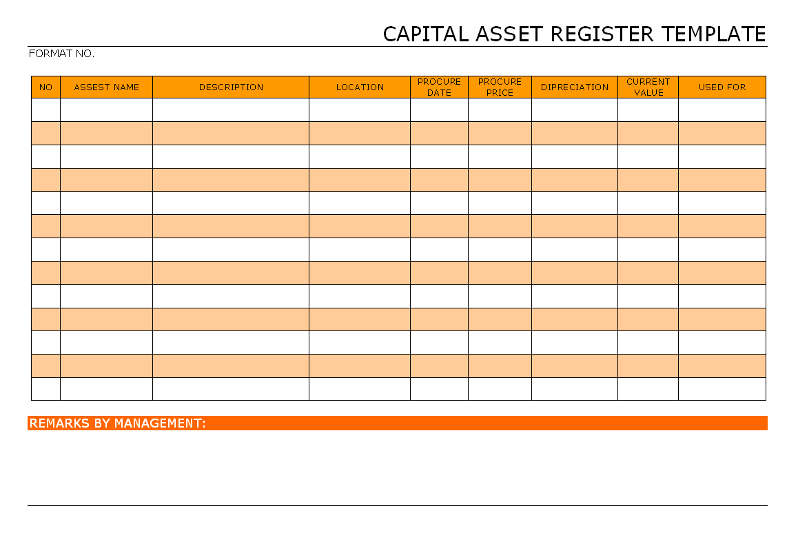 Capital asset register template format samples word for Document register template free