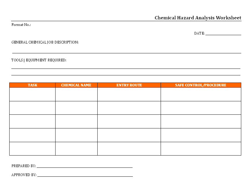 Chemical Hazard Analysis Worksheet Format | Report | Sample | Word Document  Format | Excel Format | PDF Format | JPG Format | Free Download  Job Safety Analysis Template Free