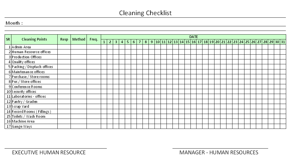 Cleaning Checklist Format | Report | Sample | Word Document Format | Excel  Format | PDF Format | JPG Format | Free Download