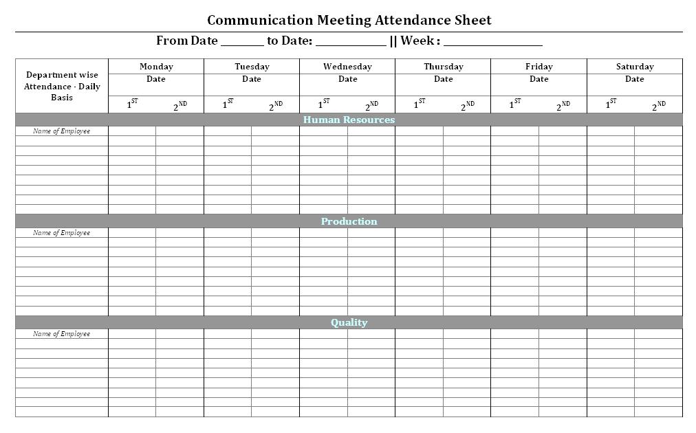 Attendance Spreadsheet Excel  Attendance Spreadsheet Template Excel