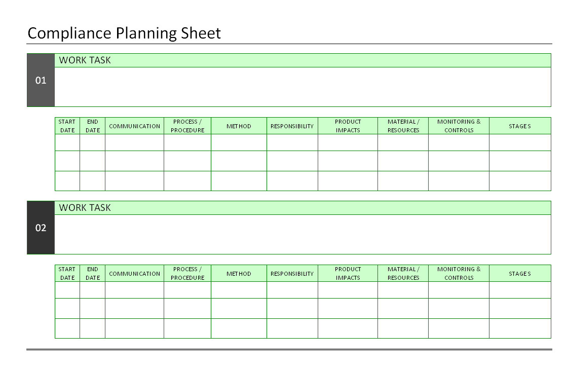 Free Download Compliance Planning Sheet format format - Word Document ...