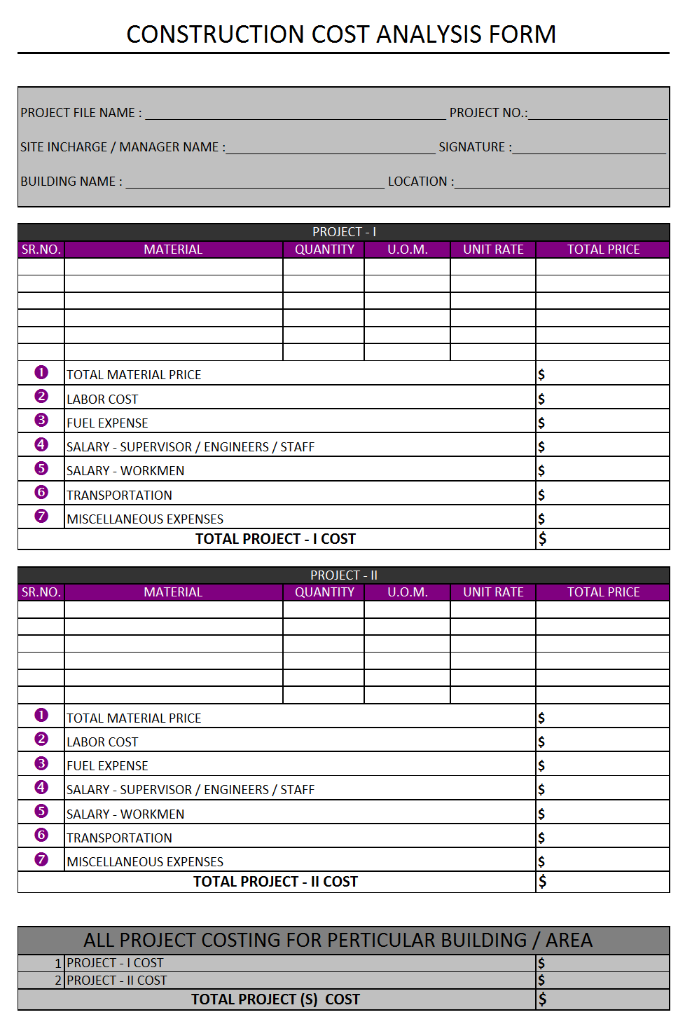 Construction Cost Analysis Form  Cost Analysis Format