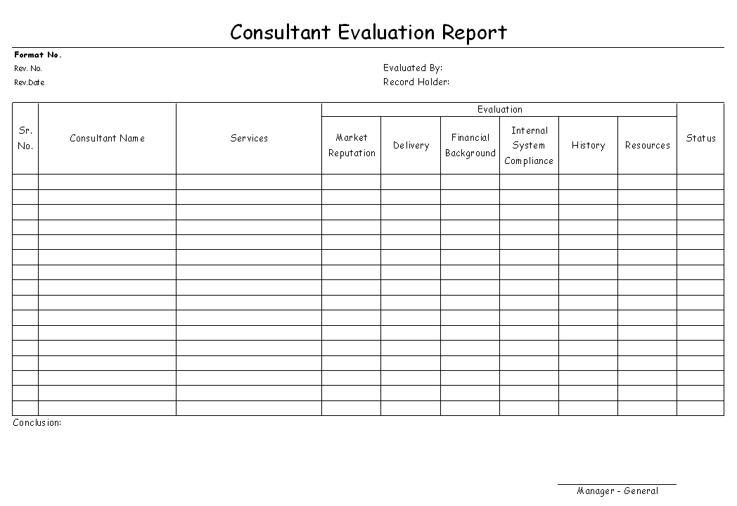 Consultant Evaluation Report Format | Report | Sample | Word Document  Format | Excel Format | PDF Format | JPG Format | Free Download