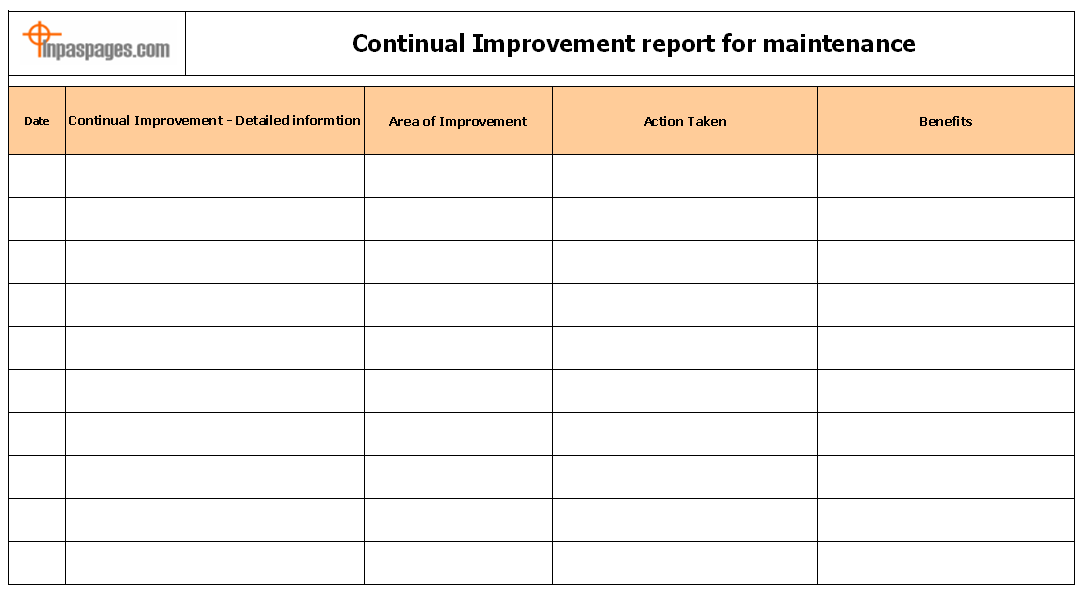 Continual Improvement Report For Maintenance