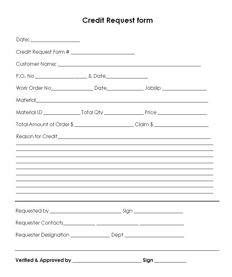 credit request form format