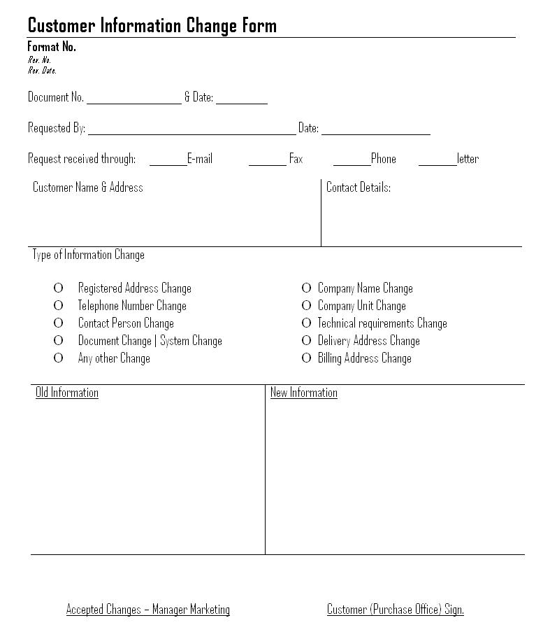 Customer Information Change Form | Format | Example | Template  Customer Information Form Template