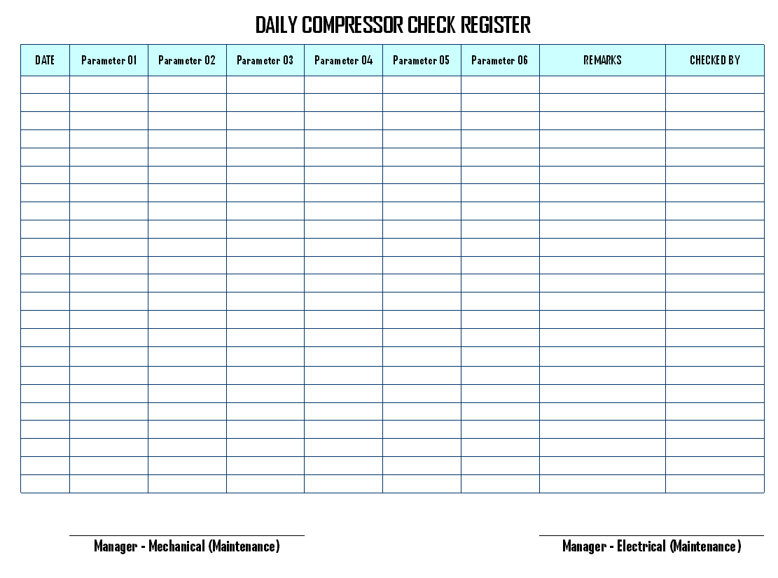 Daily Compressor Check Register Format | Report | Sample | Word Document  Format | Excel Format | PDF Format | JPG Format | Free Download  Daily Performance Report Format