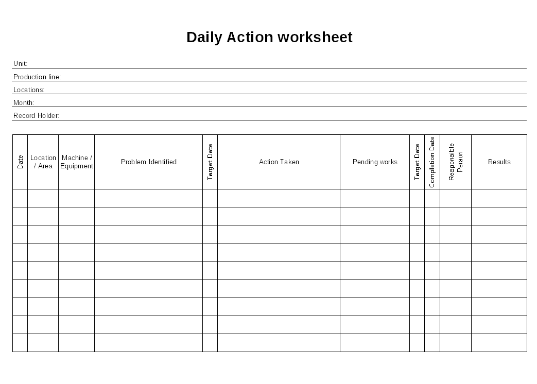 file word document daily action worksheet format report sample word ...
