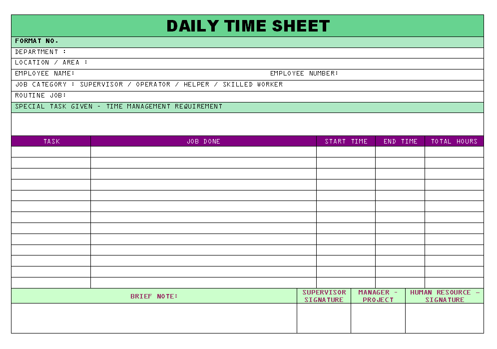 Daily Time Sheet | Report | Sample | Word Document Format | Excel Format |  PDF Format | JPG Format | Free Download