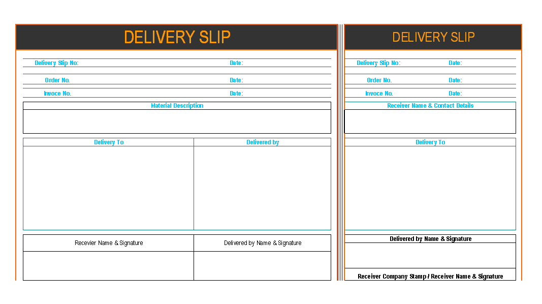 Attractive Delivery Slip | Report | Sample | Word Document Format | Excel Format | PDF  Format | JPG Format | Free Download