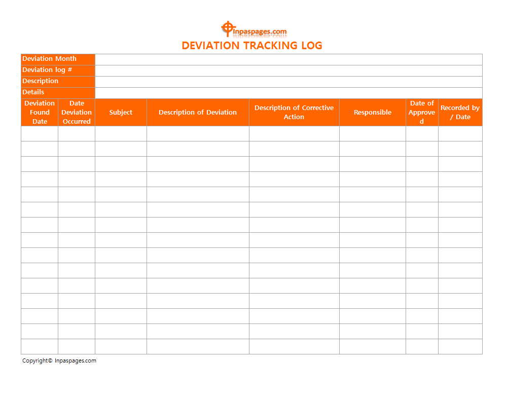 Deviation Tracking Log | Format | Example | Template