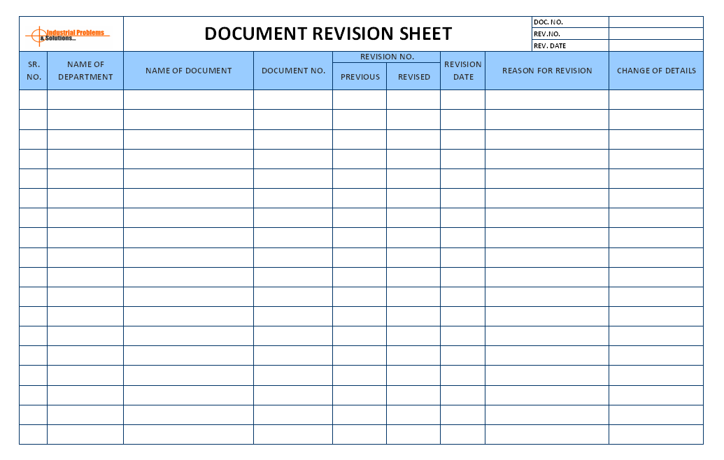 Document Revision Sheet Template