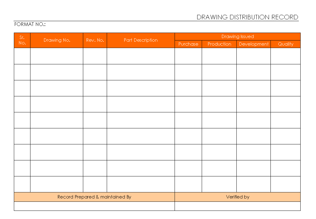 Drawing Distribution Record Format Word Pdf Report