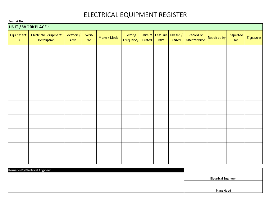 Electrical Equipment Register Format Samples Word