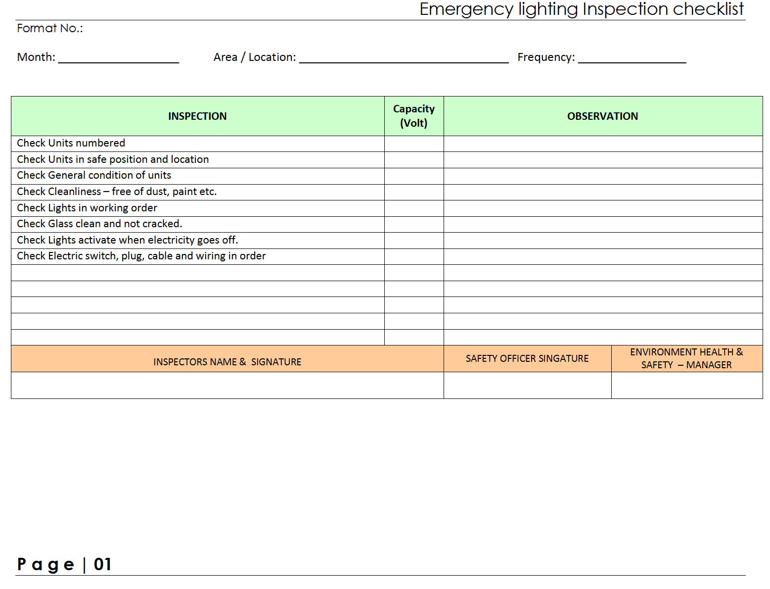 Emergency lighting Inspection Checklist| Report | S&le | Word document format | Excel Format | PDF format | JPG Format | Free Download  sc 1 st  EXCEL format & Emergency lighting Inspection Checklistformat | Samples | Word ...