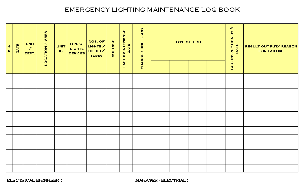 Emergency Lighting Maintenance Logbook format | Report | S&le | Word document format | Excel Format | PDF format | JPG Format | Free Download  sc 1 st  EXCEL format & Emergency Lighting Maintenance Logbook format| Samples | Word ...