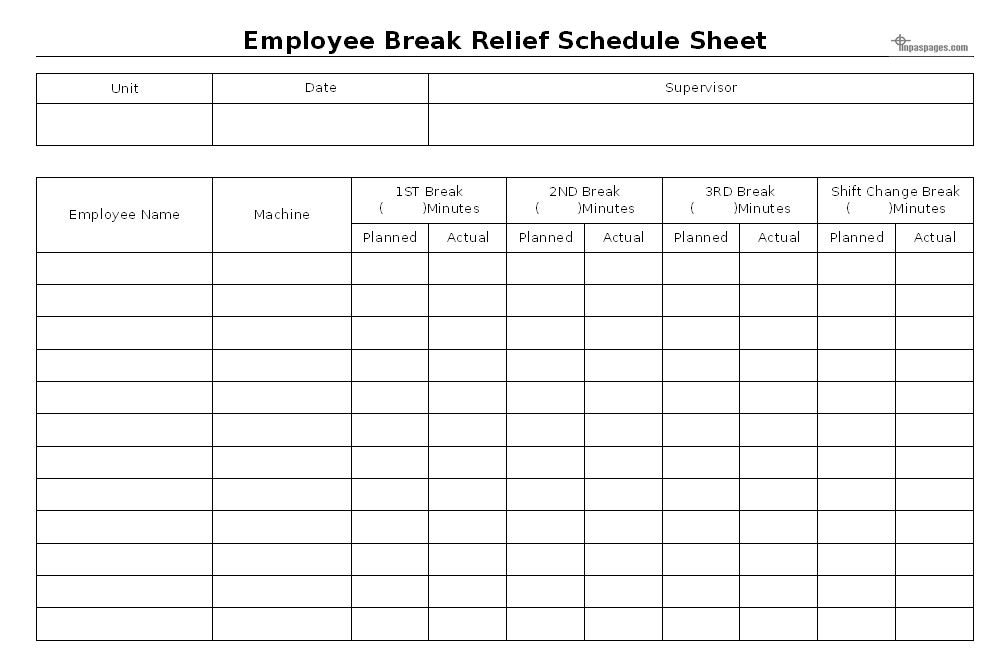 employee break relief schedule sheet format