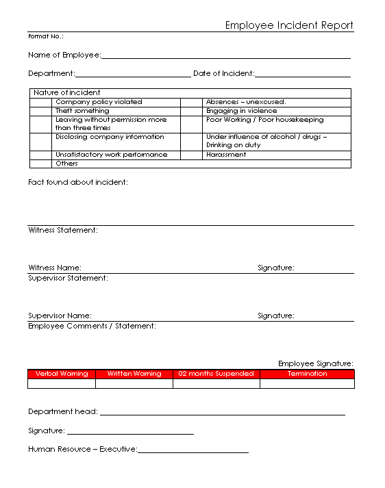 Employee Incident Report Format | Sample | Word Document Format | PDF Format  | JPG Format | Free Download  Incident Report Template Word