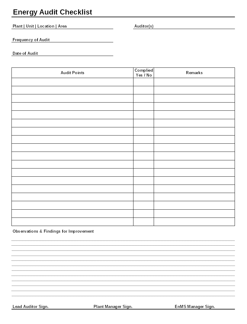 Energy Audit Checklist Format | Report | Sample | Word Document Format |  Excel Format | PDF Format | JPG Format | Free Download  Audit Format