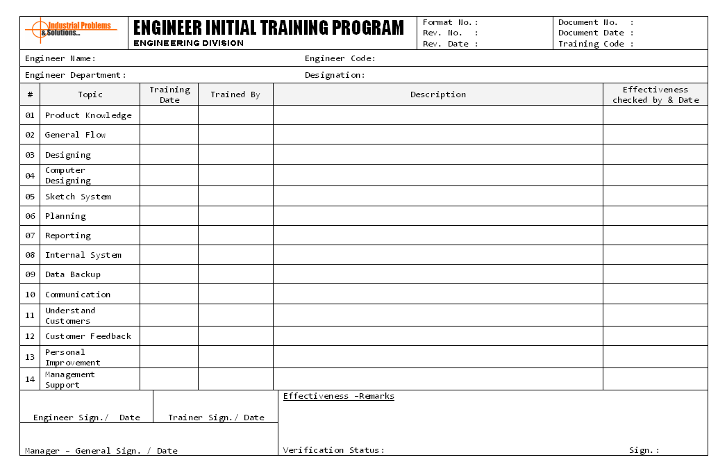 Engineer initial training program format engineer initial training program format report sample word document format excel format pdf format jpg format free download pronofoot35fo Image collections