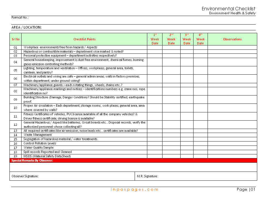 Environmental Checklist Format Samples Word Document