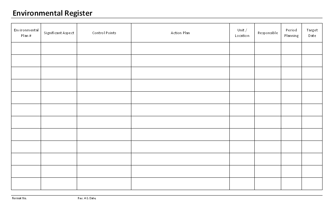 Environmental register format environmental register format example template maxwellsz