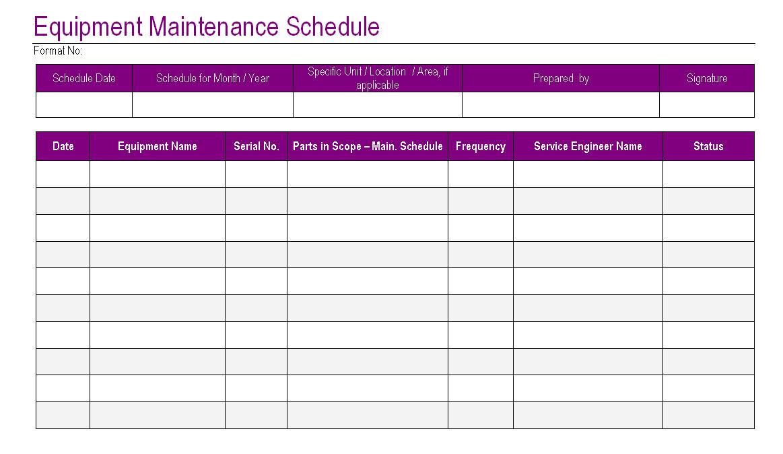 maintenance template