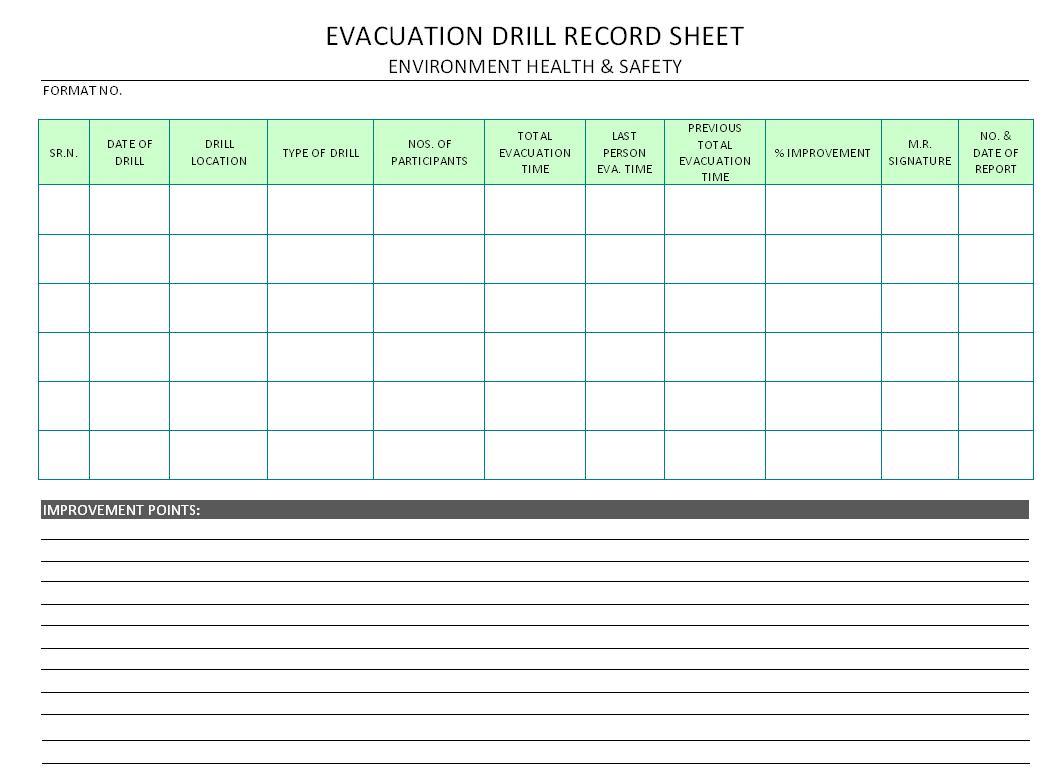 Evacuation Drill Record Sheet Format Samples Word