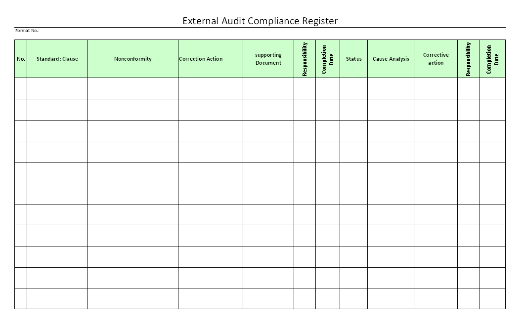 External Audit Compliance Register format | Samples | Word ...