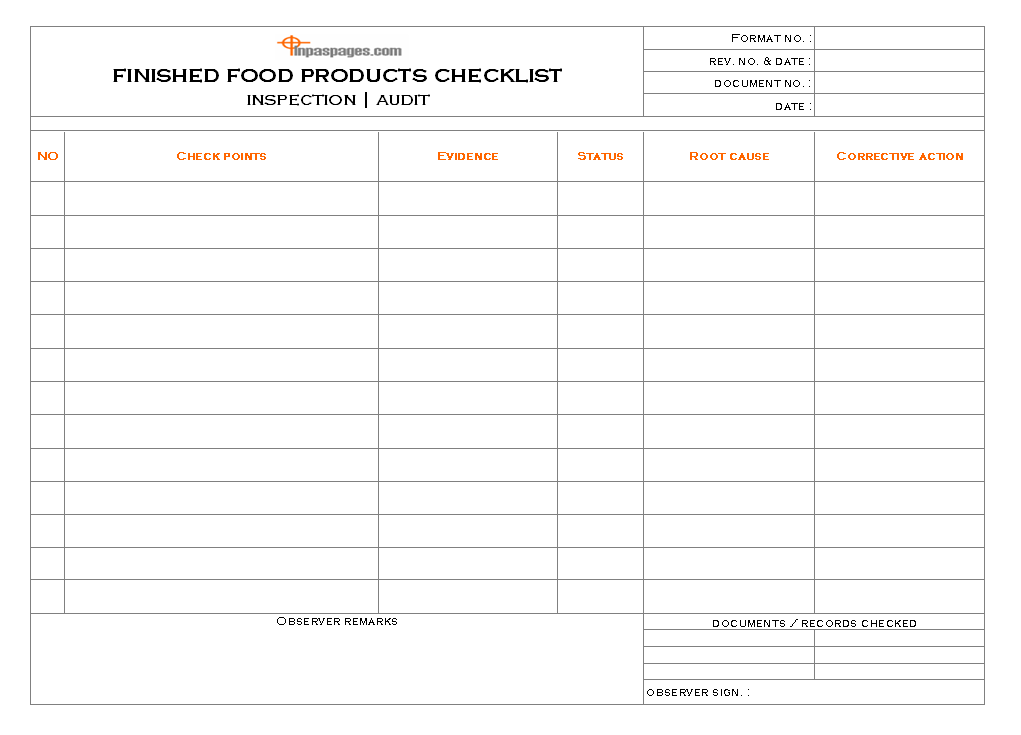 product checklist template