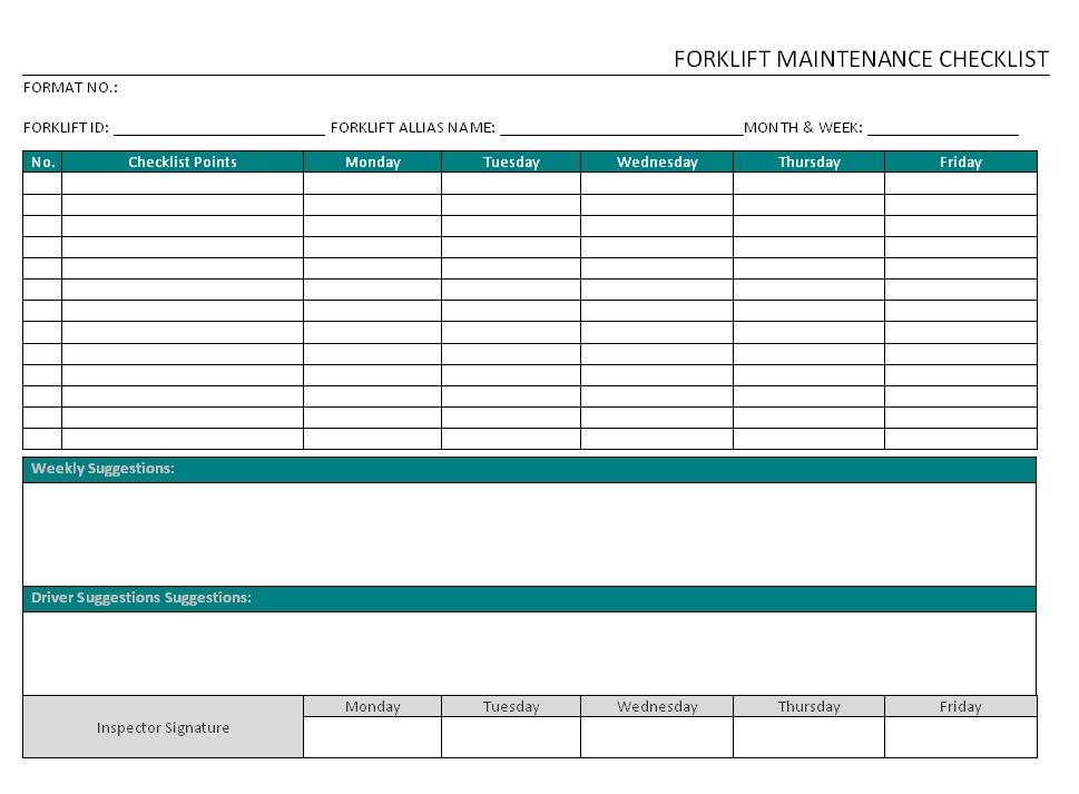 Forklift Maintenance Checklist Format Word Pdf Report