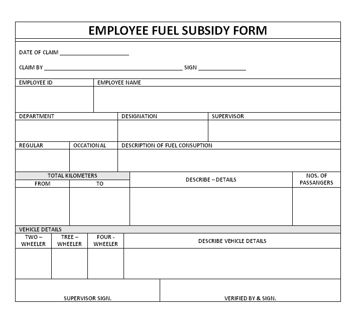 Fuel Subsidy Form | Format | Example | Template