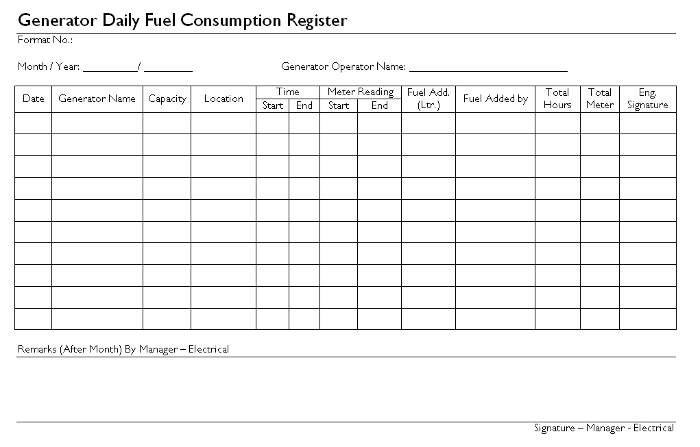 daily fuel consumption log template – End of Month Report Template
