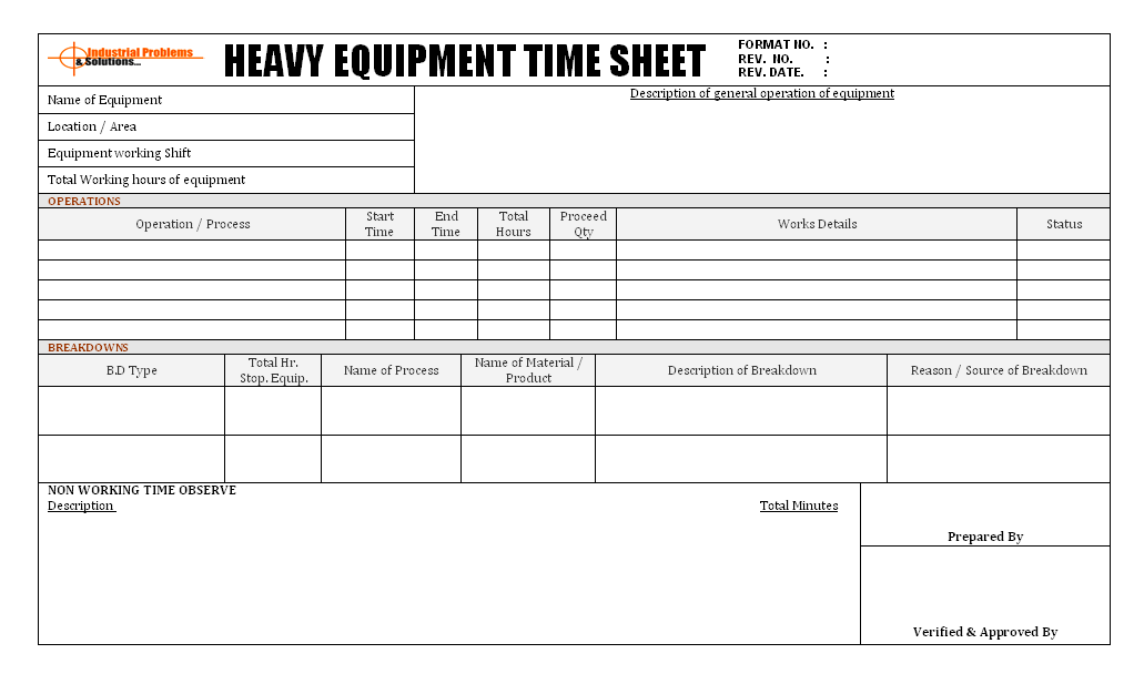 Heavy equipment time sheet format for Construction equipment list template