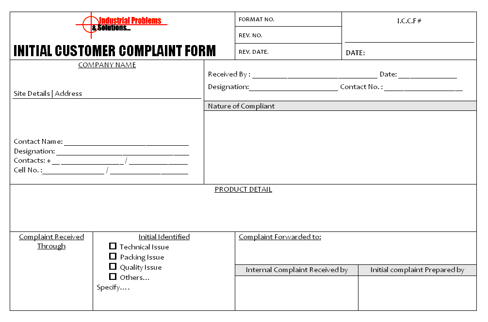 Initial Customer Complaint Form Format
