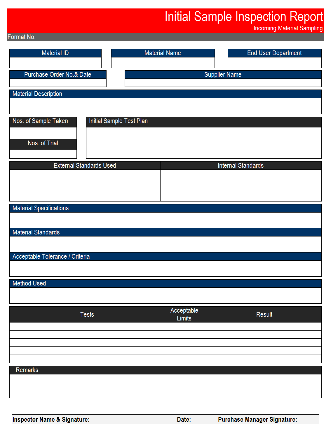 Initial Sample Inspection Report Format Samples Word Document