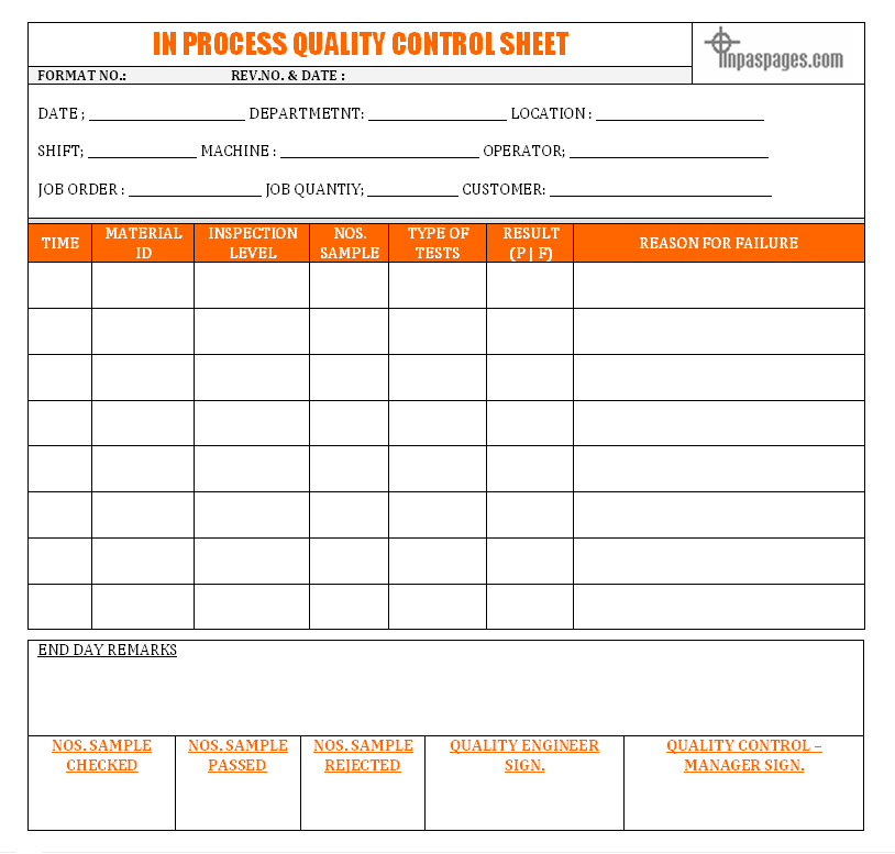 In process quality control sheet format for Quality control check sheet template