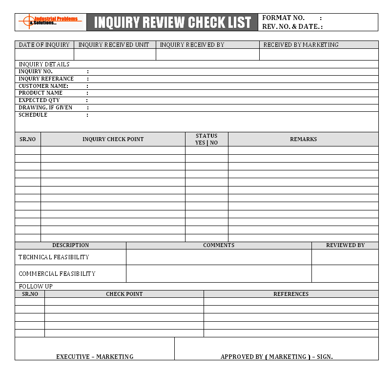 Inquiry Review Checklist Format Image 01 ...