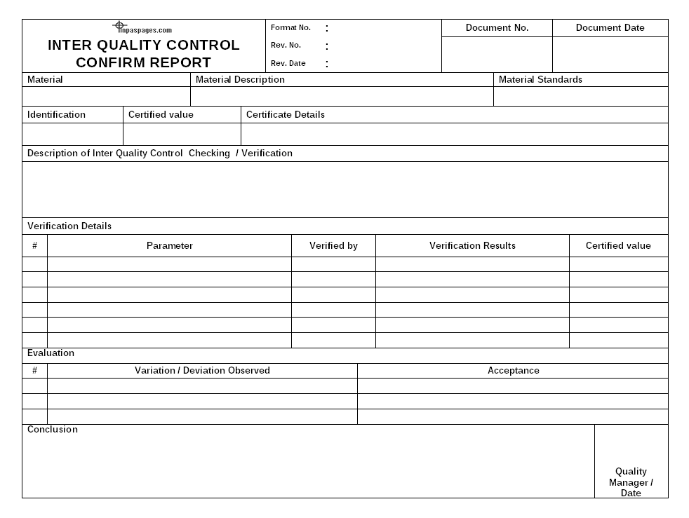 Inter Quality Control Confirm Report Format