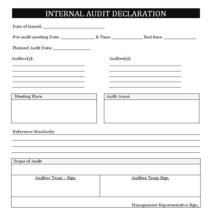internal Audit Declaration letter Format