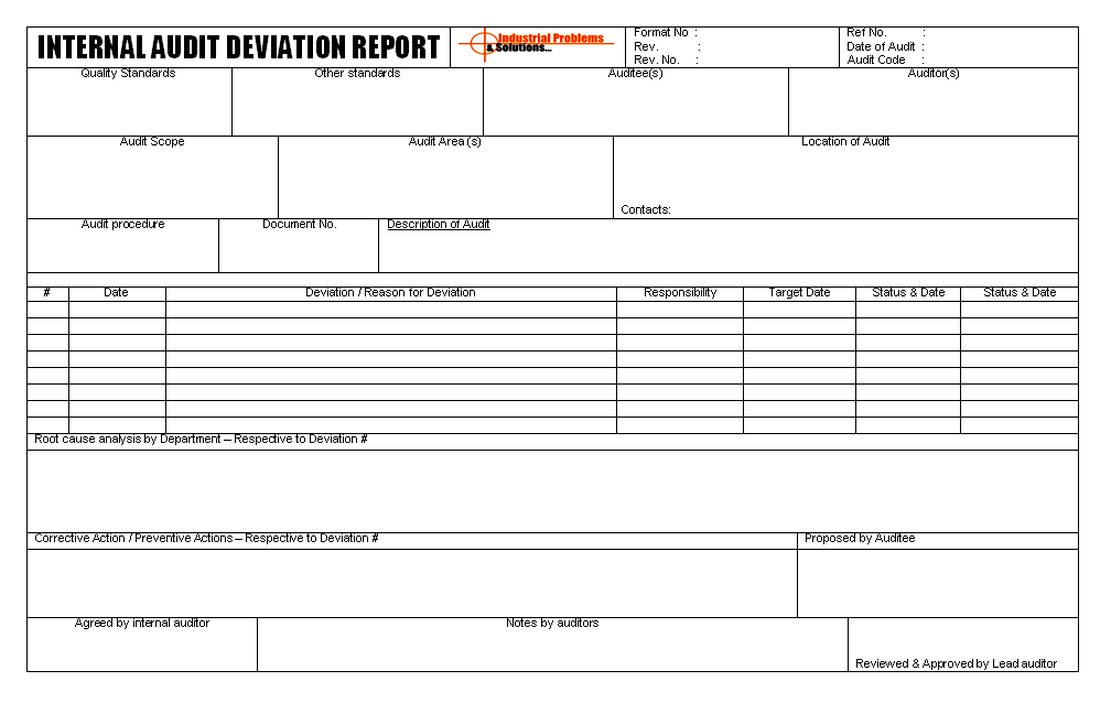 Internal Audit Deviation Report Format Image 01 ...  Audit Report Formats