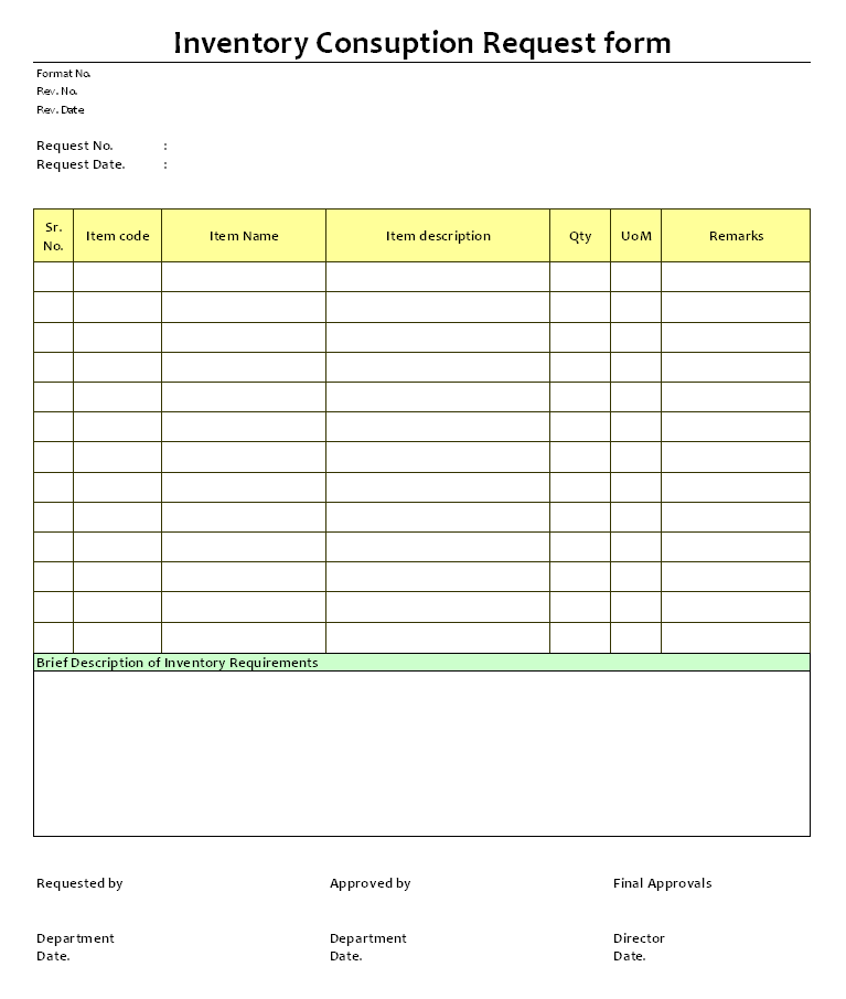 inventory form sample